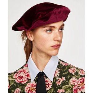 Zara Burgundy Velvet Beret
